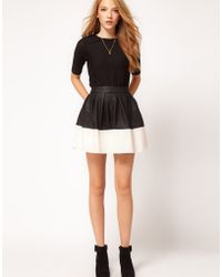ASOS Collection Asos Skater Skirt in Leather Look white - Lyst
