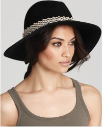 Juicy Couture Floppy Fedora with Embellished Band - Black