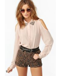 Nasty Gal Studded Cutout Blouse - Lyst