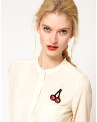 Sonia by Sonia Rykiel Cherry Brooch - Red