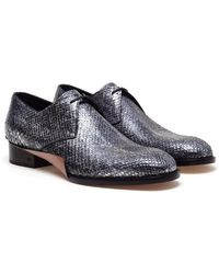 Balenciaga Metallic Python Laceup Shoes - Lyst