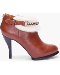 McQ by Alexander McQueen Brown Shearling Cuffed Ankle Boots - Lyst