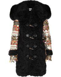 Altuzarra William Foxtrimmed Embellished Mohair Duffle Coat black - Lyst