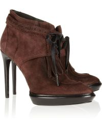 Burberry Prorsum Laceup Suede Ankle Boots purple - Lyst