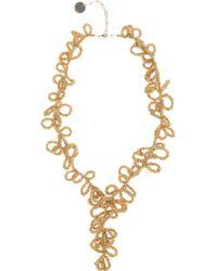 Elie Saab Gold Long Loop Necklace - Metallic