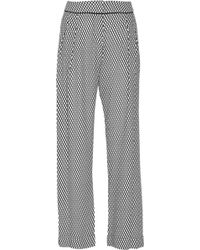 Jonathan Saunders Cena Highrise Crepe Wide Leg Pants gray - Lyst