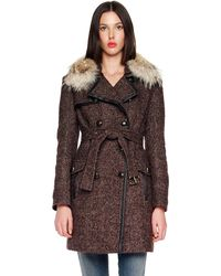 Michael Kors Double-Breasted Tweed Coat - Lyst