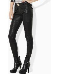 Ralph Lauren Blue Label Gaston Moto Leather Pant - Lyst