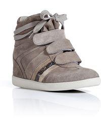 Serafini - Taupe Suede Manhattan Wedge Sneakers - Lyst