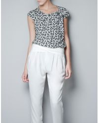 Zara Printed Top with Bow On The Shoulder - Lyst