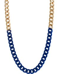 Asos Flocked Chain Necklace blue - Lyst