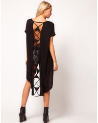 ASOS Collection  Tunic with Laddered Dip Back black - Lyst