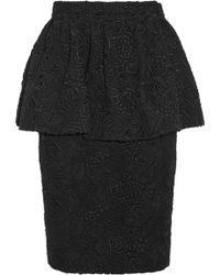 Burberry Prorsum Cotton Lace Peplum Skirt - Lyst
