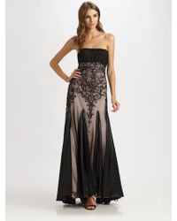Sue Wong Strapless Beaded Gown - Lyst