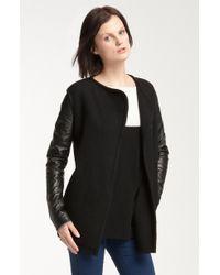Vince Biker Leather Sleeve Wool Coat - Lyst
