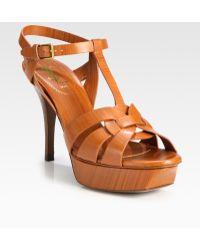 Saint Laurent Leather Tstrap Slingback Sandals - Lyst
