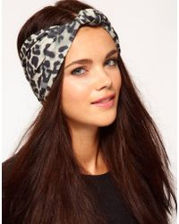 River Island - Snow Leopard Wide Knot Stretch Hair Band - Lyst