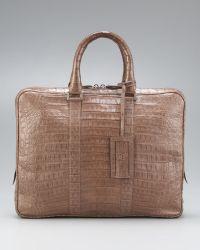 Santiago Gonzalez Slim Crocodile Briefcase  - Natural