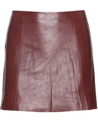 T By Alexander Wang Leather Mini Skirt red - Lyst