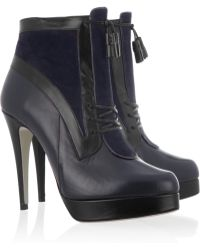 Jason Wu Two Tone Leather and Suede Ankle Boots - Blue