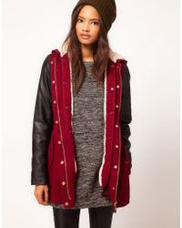 ASOS Collection  Parka with Borg Lining red - Lyst
