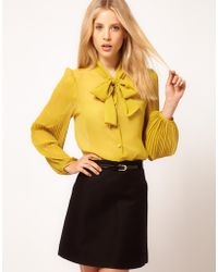 ASOS Collection Asos Blouse with Pussybow and Pleated Sleeves yellow - Lyst