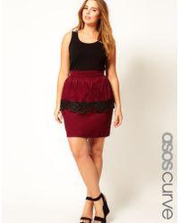 Asos Curve Peplum Skirt with Cutwork Hem - Lyst