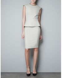 Zara Peplum Dress with Faux Leather Piping - Lyst