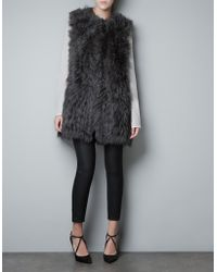 Zara Long Fur Waistcoat - Lyst