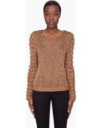 Rag & Bone Bronze Chunky Farah Sweater - Lyst