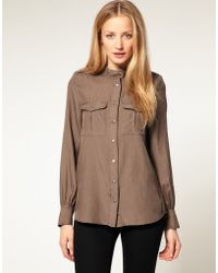 French Connection Silk Blend Military Shirt - Lyst