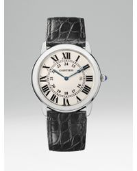 Cartier Ronde Solo De Stainless Steel & Alligator Large Strap Watch - Lyst