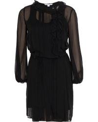 Diane von Furstenberg Kelly Solid Chiffon Dress black - Lyst