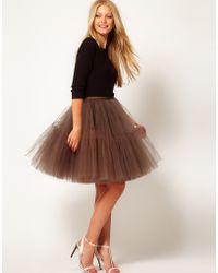 Asos Full Skirt in Mesh green - Lyst