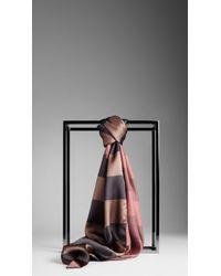 Burberry Striped Silk Scarf - Lyst
