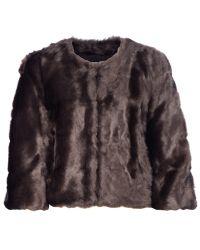 Donna Karan New York Cropped Faux Fur Jacket - Lyst