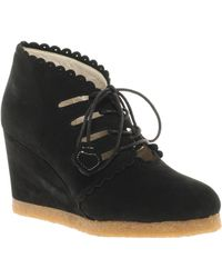 F-Troupe Wedge Lace Up Ankle Boots - Black