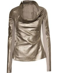 Rick Owens Zip Cowl Leather Jacket - Lyst