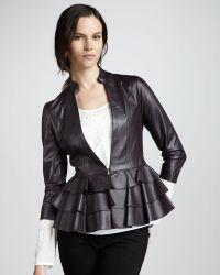 Alice By Temperley - Page Rufflehem Leather Jacket - Lyst