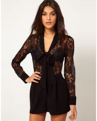 ASOS Collection Asos Pussybow Playsuit in Lace - Lyst
