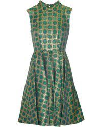 Kenzo Medallion Brocade Dress green - Lyst