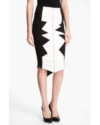 Kelly Wearstler Organto Contrast Panel Knit Pencil Skirt black - Lyst