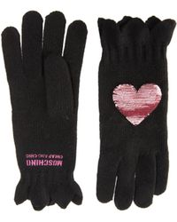 Boutique Moschino Sequin Heart Gloves - Black