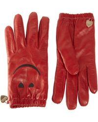 Boutique Moschino Smiley Leather Gloves - Red