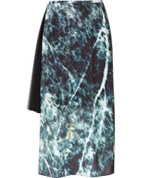 Reiss Midi Skirt with Pleated Side Panel - Green