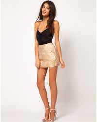 ASOS Collection Asos Mini Skirt in Gold Jacquard - Lyst