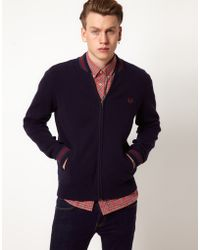 Fred Perry Cardigan Bomber - Lyst