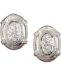 Judith Ripka - Pave Sapphire Oval Post Earrings - Lyst