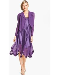 Komarov Handkerchief Hem Charmeuse Dress Chiffon Jacket - Lyst