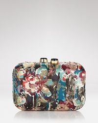 KOTUR Morley Baroque Floral Brocade Mini Box Clutch with Drop in Chain - Blue